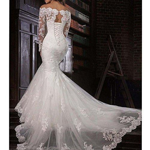 9e2240a645 ... Image of 2018 Lace Mermaid Wedding Dresses Applique Beaded Bridal Gowns  Off Shoulder Long Sleeve Wedding ...