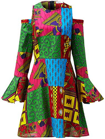 Women African Print Maxi Long Dresses Winter Autumn Women Retro Long Sleeve Floor Length Elegant Traditional Skater at Amazon Women's Clothing store: