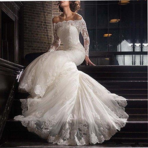 b7c61e0cc8 2018 Lace Mermaid Wedding Dresses Applique Beaded Bridal Gowns Off Shoulder  Long Sleeve Wedding Gowns for. Hover to zoom