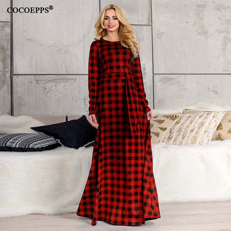 43ce6261ca4 5XL 6XL 2018 Women Long Dress Autumn Vintage Plus Size Maxi Dress Fashion  Red Plaid Dress Vestido Large Size Evening Party Dress