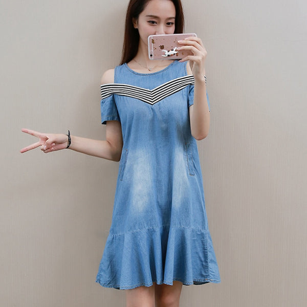 5Xl Plus Size Denim Dresses For Women Striped Midi Denim Dresses Off Shoulder O Neck Mermaid Loose Denim Jeans Dress Summer New