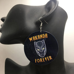 5pairs/lot WAKANDA Forever Wooden Earrings