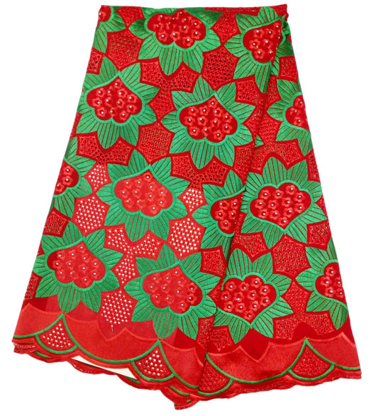 (5yards/lot) , On sale price cheap African cotton embroidery lace fabric for wedding dress beautiful red and green 5 yards/lot