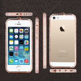6 s 6S case luxury bling glitter case for iPhone 6 6S Plus 5 5S SE metal diamond rhinestone shining crown bumper case frame capa