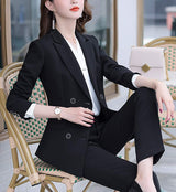 SUSIELADY Women's Blazer Suits Two Piece Solid Work Pant Suit for Women Business Office Lady Suits Sets