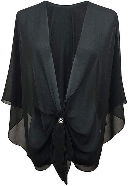 eXcaped Womens Evening Dress Shawl Wrap and Scarf Ring Set - Sheer Chiffon Cape