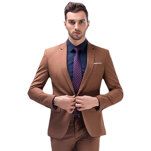 Men Solid Two-Button Elegant Modern Fit 2 Piece Suit Multi-Color Custom Made
