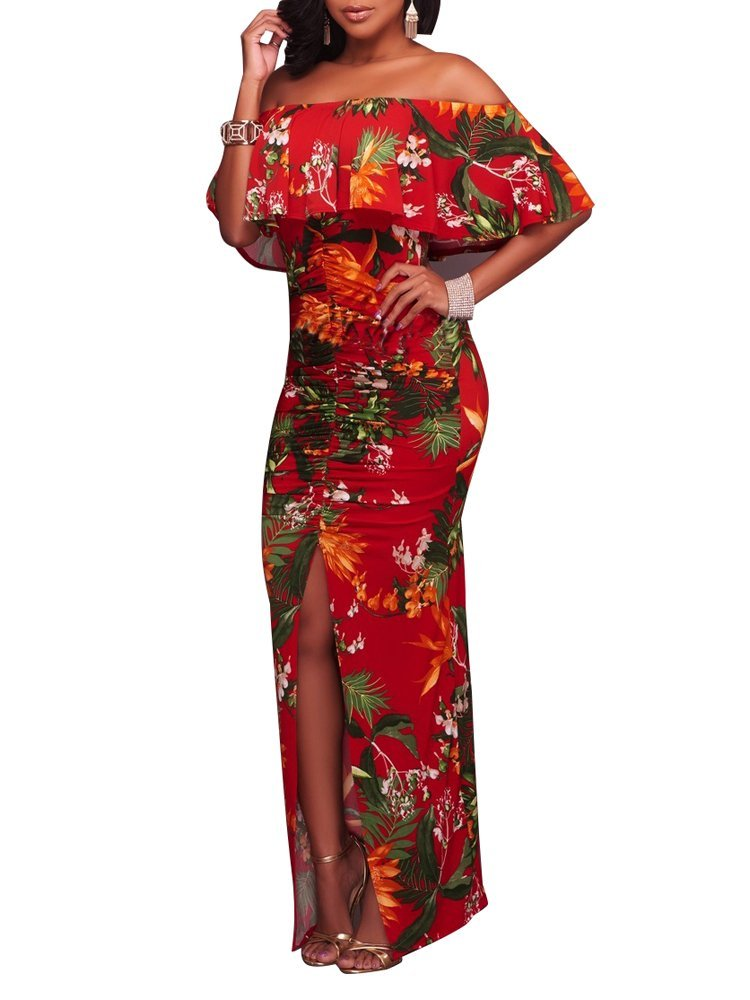 a887bb488c Women Fashion Floral Off Shoulder Ruffle Fishtail Evening Grown Long Maxi  Dress. Hover to zoom