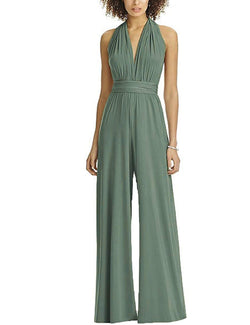 EverChic Womens Jumpsuit Convertible Plunge V Neck Sleeveless Backless
