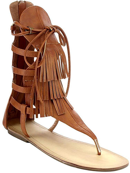Liliana Avis-4 Women's Flat Lace Up 3 Layers Fringe Flip Flop Gladiator Sandal