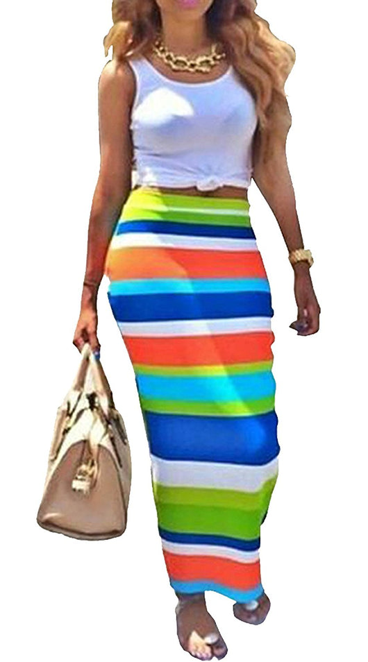 Womens Crop Top Midi Skirt Outfit Two Piece Bodycon Maxi Dress