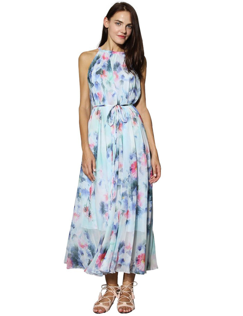 7d892053ad1 Medeshe Women s Chiffon Floral Holiday Beach Bridesmaid Maxi Dress Sundress.  Hover to zoom