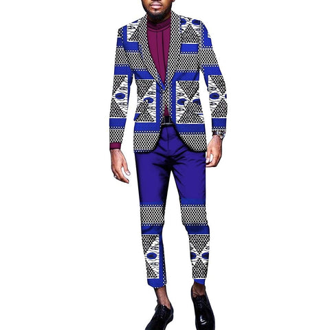African Men's Jacket+Pants Dashiki Sets Suits Foral Wear 100% Cotton Wax Print Fabric