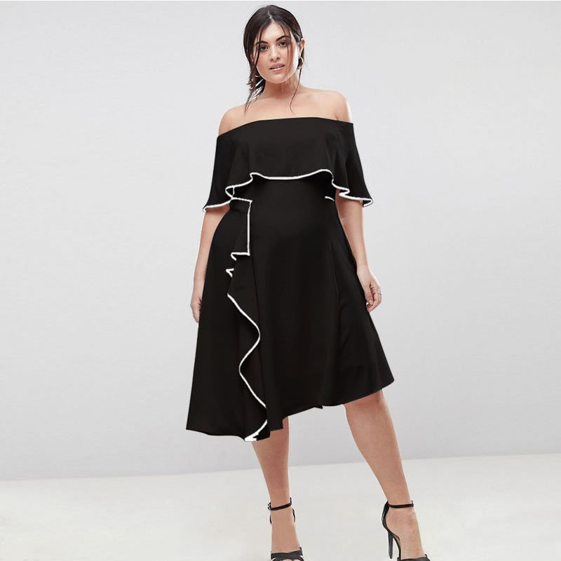 6XL Brand New Summer Dresses Fashion Party Off Shoulder Plus Size Dress  Women Hot Large Sizes Black Hit Color Dress Vestidos