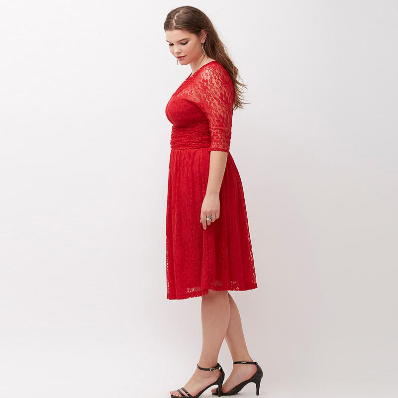 6Xl Plus Size Red Lace Dress 2017 New Summer High Waist Dresses Vestido  V-neck Midi Dress Prom Slim Fit And Flare 5xl Vintage 4x
