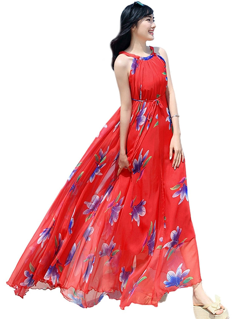 75aceb5193c Medeshe Women s Chiffon Floral Holiday Beach Bridesmaid Maxi Dress Sundress  1. Hover to zoom
