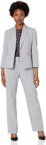 Le Suit Women's Glazed Melange 1 Button Notch Collar Pant Suit