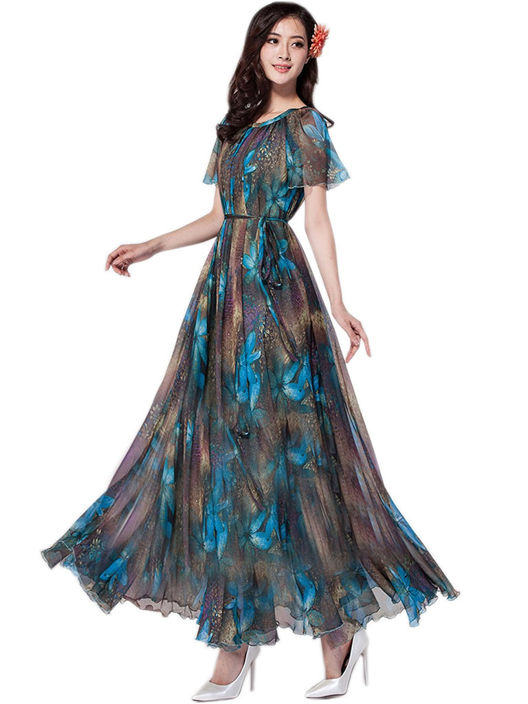 81d99a57047 Hover to zoom · Medeshe Women s Chiffon Floral Holiday Beach Bridesmaid  Maxi Dress Sundress 1