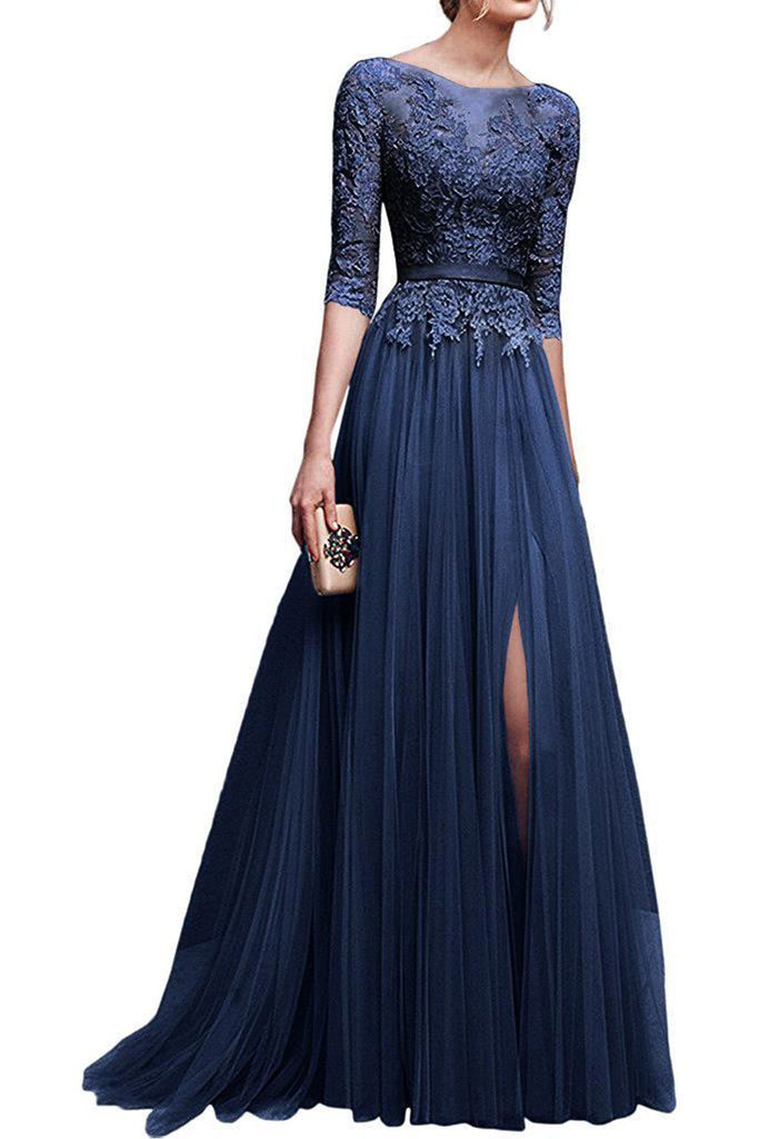 e9aa839775ac8 MisShow Applique Tulle 3/4 Sleeves Long Prom Dresses 2018 for Women