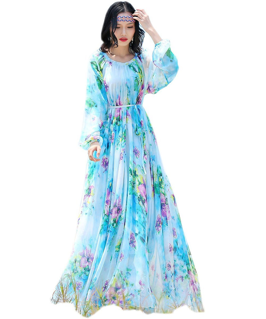 f1d4f68302f Medeshe Women s Chiffon Floral Holiday Beach Bridesmaid Maxi Dress  Sundress. Hover to zoom
