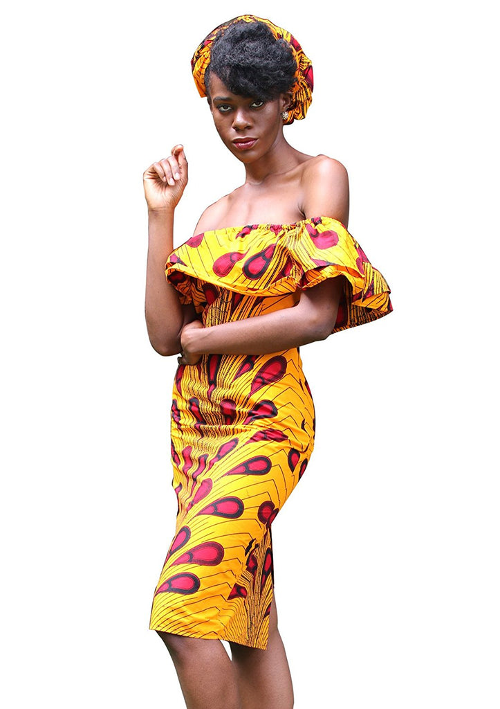 722962b6551292 Women African Print Off the Shoulder Summer Midi ankara Slim Fit with Back  Split. Hover to zoom
