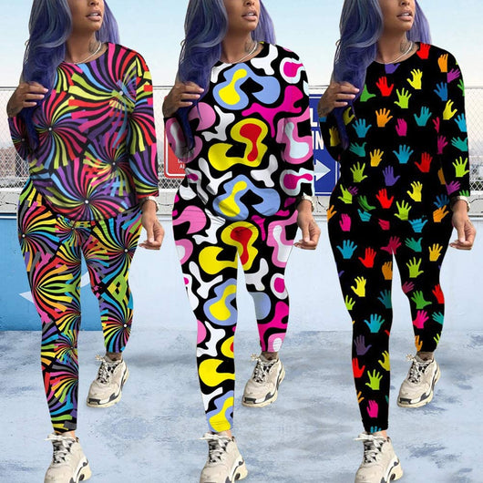 Long Sleeve Tie Dye Rainbow Tops and Joggers Pants 2 Piece Set Jumpsuits Club Outfits Womens Jogging Suits Sets