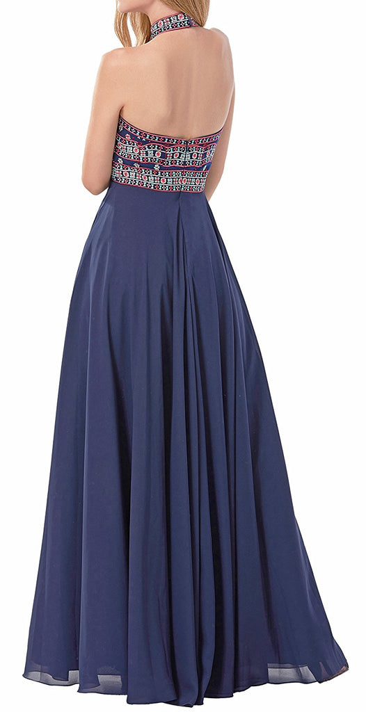 b9cb74874e4 Women s Dresses Prom Dress Evening Gowns Bridesmaid Dresses Halter Neck  Embroidery Open Back 2018. Hover to zoom