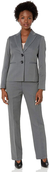 Le Suit Women's Striped Herringbone 2 Button Notch Collar Pant Suit