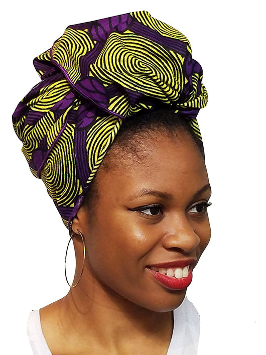 Yellow and Purple African Print Ankara Head wrap, Tie, scarf, gele Multicolor, One Size