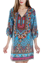 Women Bohemian Neck Tie Vintage Printed Ethnic Style Summer Shift Dress
