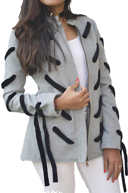 The Gallery Women's Wool with Black Velvet straps Jacket Grey