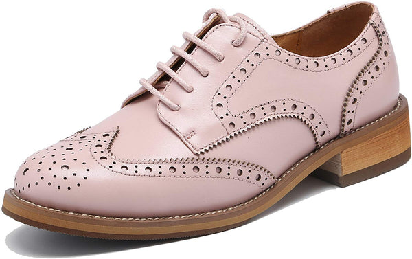 U-lite Women's Perforated Lace-up Wingtip Leather Flat Oxfords Vintage Oxford Shoes Brogues
