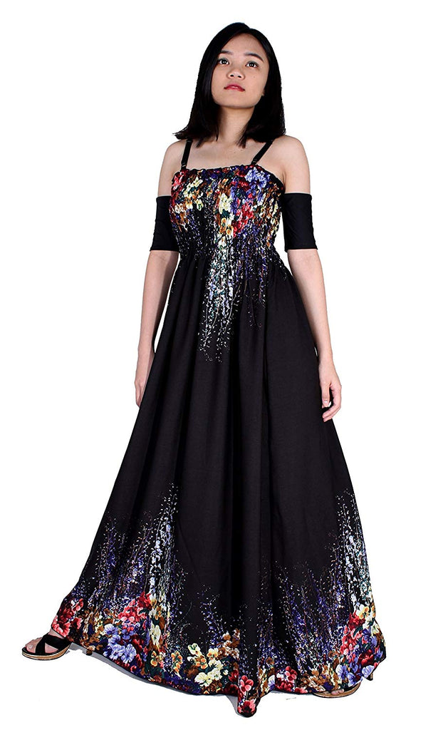 25f9170286f ... Women Floral Party Cocktail Evening Off Shoulder with Sleeves Junior  Black Maxi Long Plus Size Dress