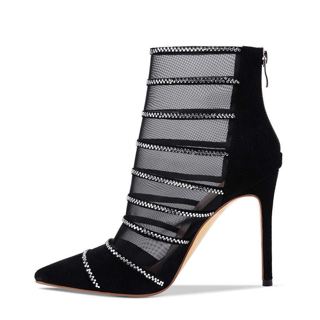 cdee92d9ca7 ... Women s Pointed Toe Sandal Booties See Through Fishnet Mesh High Heel  Stiletto Ankle Boots Black