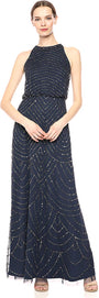 Adrianna Papell Women's Halter Art Deco Beaded Blouson Dress