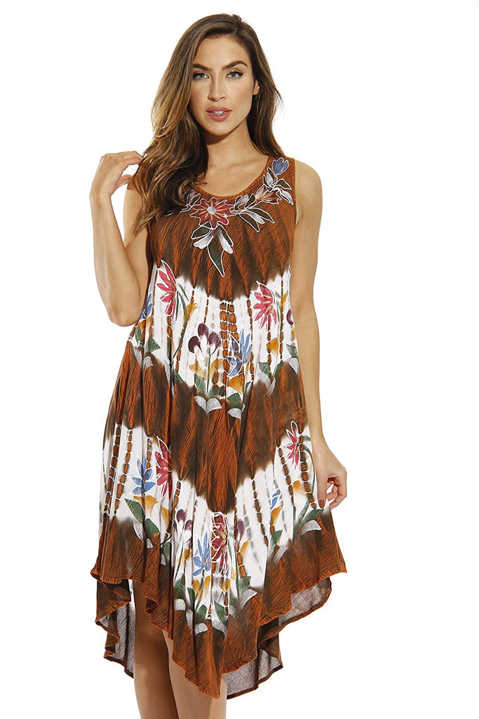 2c577c99480 Summer Dresses Tie Dye Embroidered Beach Swimsuit Cover up – Owame