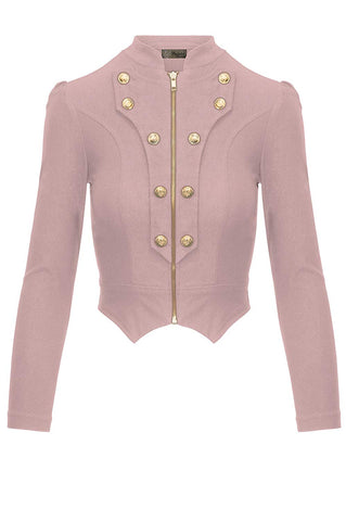HyBrid & Company Women's Military Crop Stretch Gold Zip Up Blazer Jacket