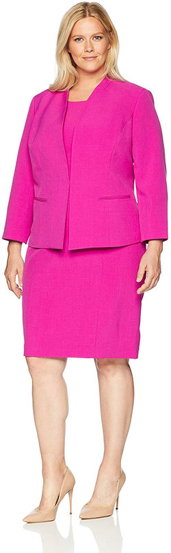 Le Suit Women's Plus Size Crepe Fly Away JKT with Sheath Dress