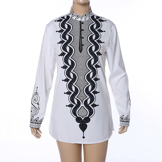 Men African Long Sleeve Shirt,Ethnic White Hippie Shirt Long Sleeves Stitching Tops Blouse Tribal Pullover