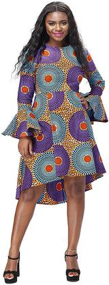 Women African Print Dresses Autumn and Winter Long Sleeves Ankara Dress
