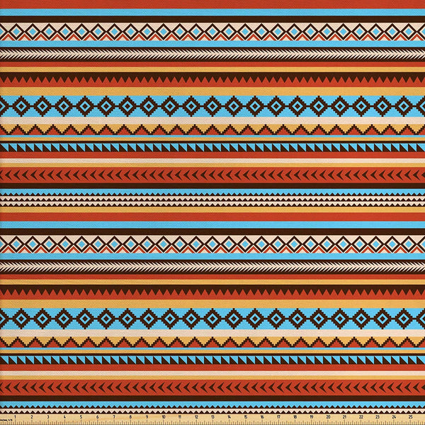 Lunarable Tribal Fabric by The Yard, Pattern Chevrons Arrow Heads Rectangles Motifs Design, Decorative Fabric for Upholstery and Home Accents, 3 Yards, Orange Blue