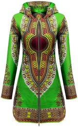 Women African Fashion Clothes Long Sleeve Coat Ankara Print Dashiki Long Jacket