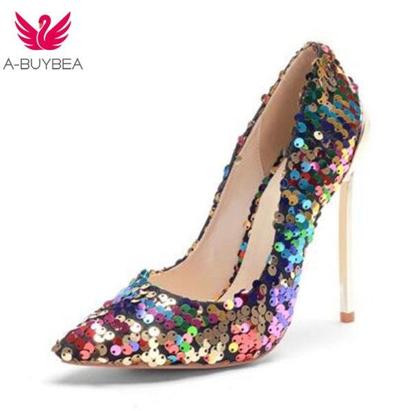 A-BUYBEA 2018 New Arrive Women Shoes Bling Sexy Stilettos High Heels 12cm Pointed Toe Women Pumps Ladies Wedding Party Footwear