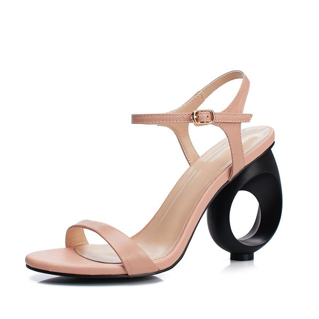 d298e26eff A-BUYBEA Concise Real Leather Women Sandals Strange Style High Heels Women  Summer Shoes Fashion Buckle Casual Women Daily Shoes