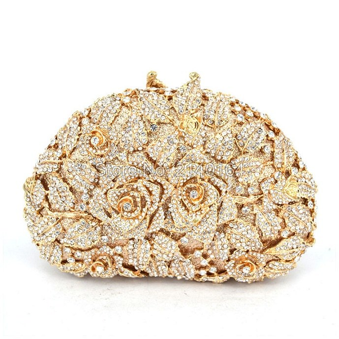 88303-j Buy Cheap Ladies Evening Party Golden Flower Clutch Bag Crystal Diamond Vintage Handbags Wedding Rose Bags Metal Clutches Purse Women's Bags Top-handle Bags