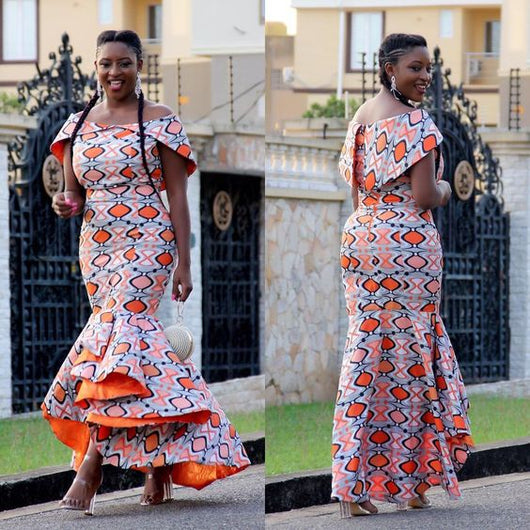 Owame already made african dresses,off-shoulder ankle-length trumpet formal dress pure cotton OW22546 - Owame