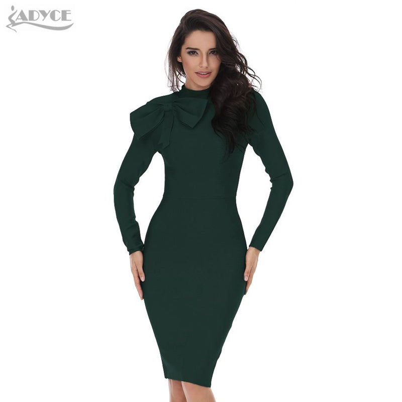 390cb03b935d Hover to zoom · ADYCE 2018 new Winter women Bodycon Dress long sleeve high  neck red dark green bow knee