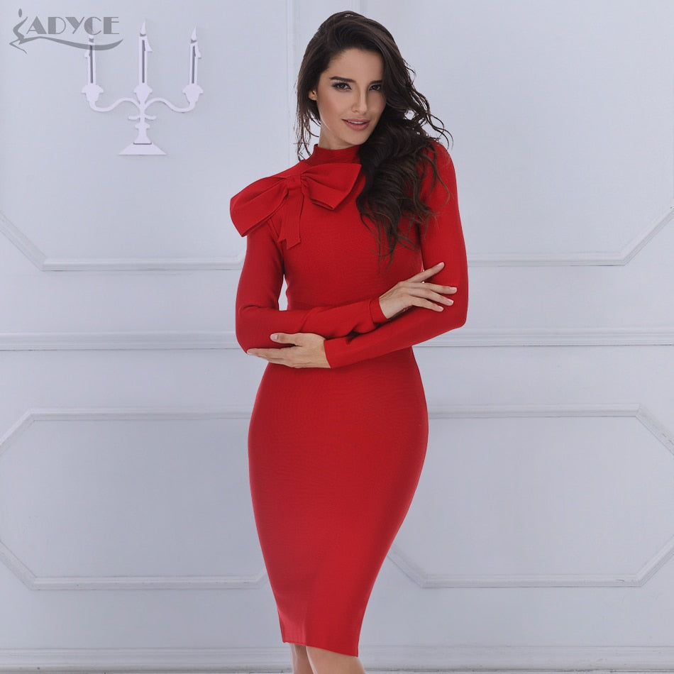c7b33935e3f Hover to zoom · ADYCE 2018 new Winter women Bodycon Dress long sleeve high  neck ...