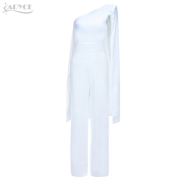 152c63abf78d ... ADYCE 2019 Summer Women Celebrity Runway Jumpsuits One Shoulder White  Black Batwing Sleeve Romper Jumpsuit Sexy