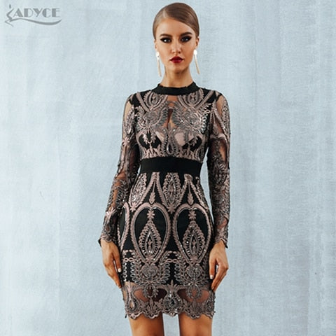 3817044b2424 ... Image of ADYCE Celebrity Party Sequin Dress Women 2019 New Long Sleeve  Backless Sexy Mesh Hollow ...